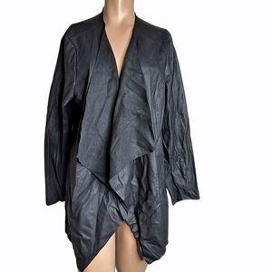 Joan Vass Flyaway Blazer Jacket faux leather